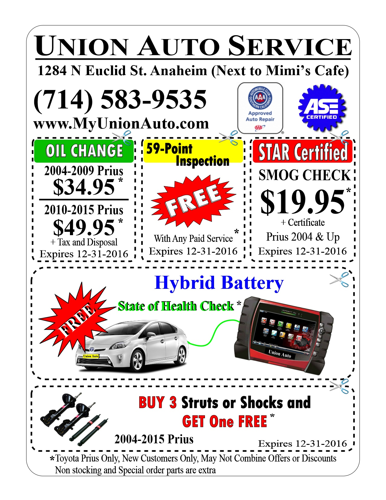 Free Hybrid Battery Test Prius Maintenance Required Oil Change Coupon